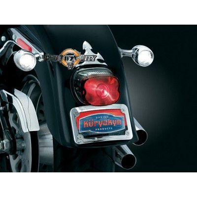 9255 SUPPORT DE PLAQUE INCURVE CHROME + ECLAIRAGE LED INTEGRE HARLEY