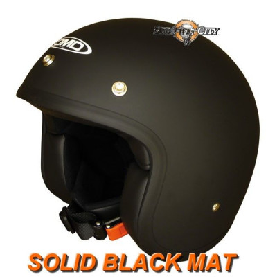 Casque Jet DMD Vintage Solid Black mat