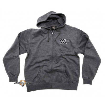 SWEAT A CAPUCHE K&N ORIGINAL LOGO ZIP GRIS