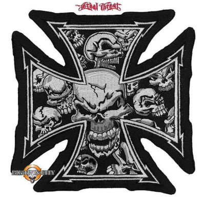 ECUSSON / PATCH GIRL CROIX DE MALTE SKULL GRIS