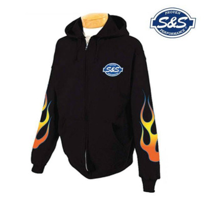 SWEAT ZIPPE A CAPUCHE FLAMMES NOIR