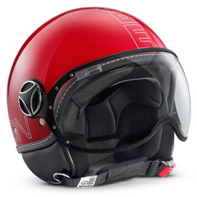 Casque Jet Momo Design FGTR Glam Rouge Brillant
