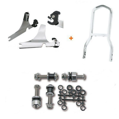 Kit Complet Sissy Bar Détachable Mini Low Boy Chromé Softail Heritage, Deluxe