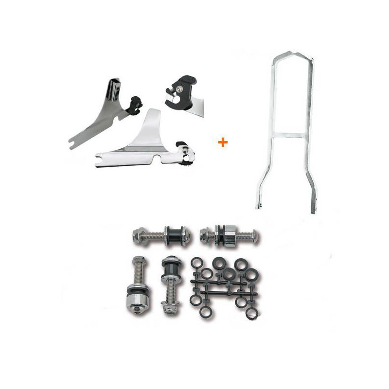 Kit Complet Sissy Bar Détachable Low Boy Chromé Softail Heritage, Deluxe