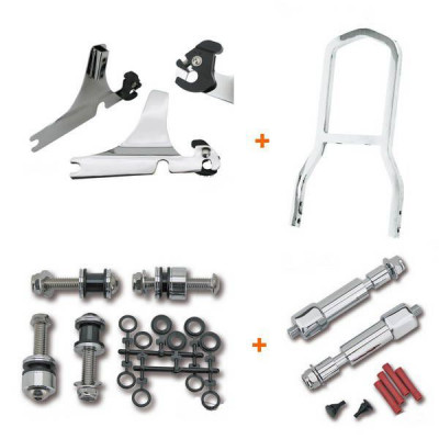 Kit Sissy Bar Complet Détachable Mini Low Boy Chromé Softail 00/01