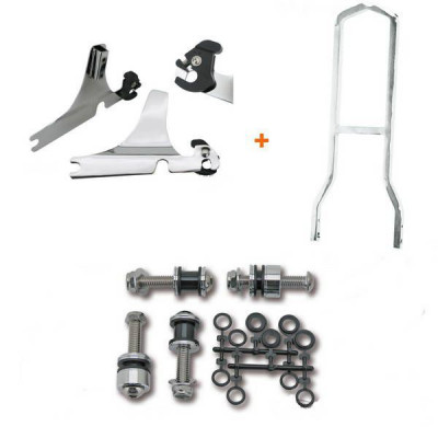 Kit Complet Sissy Bar Détachable Chromé Low Boy Softail Heritage Classic 00/02