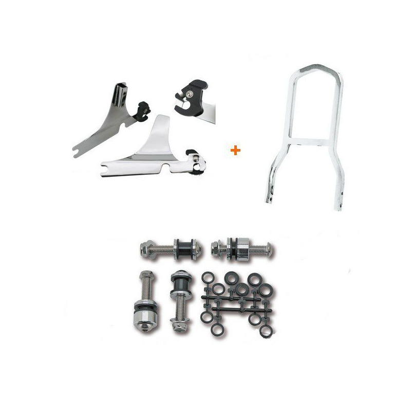 Kit Complet Sissy Bar Détachable Mini Low Boy Chromé Softail Heritage Classic 03/16