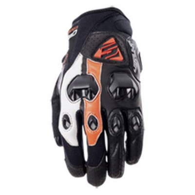 Gants Moto FIVE Stunt Evo Leather Homme Blanc/Orange (Flat)