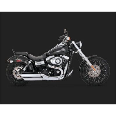 Silencieux Échappement Vance & Hines Twin Slash Chromé Dyna Fat Bob 08/17 Wide Glide 10/17