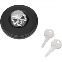 Gas Cap Screw-in Locking Skull Non-vented Black