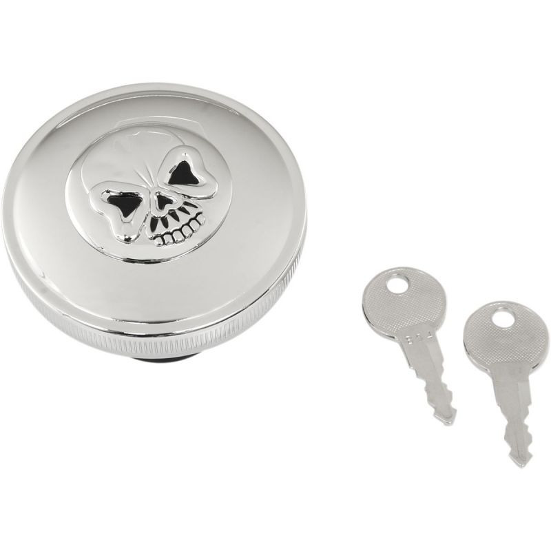 Gas Cap Screw-in Locking Skull Vented Chrome