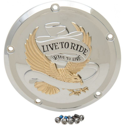 Cover Derby 5-hole Live To Ride Chrome/gold