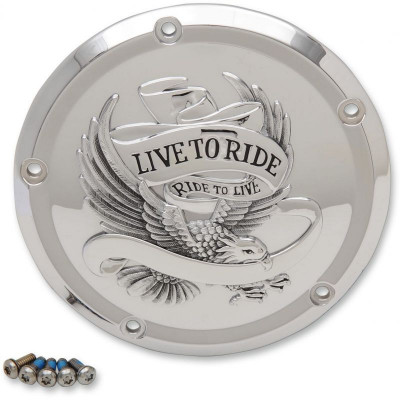 Cover Derby 5-hole Live To Ride Chrome