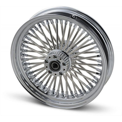 "Roue Avant 50 Rayons Fat Daddy 16"" x 3.5"" Chromé Touring 00/07 Double Disque"