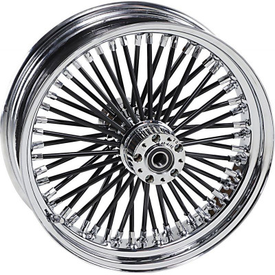 "Roue Avant 50 Rayons Fat Daddy 18"" x 3.5"" Noir Touring 08/16 ABS Double Disque"
