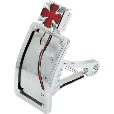 Taillight Led Maltese Cross W/ Curved Vertical Side-mount License Plate