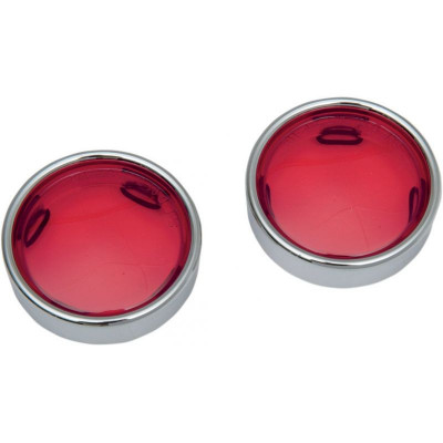 Deuce-style Turn Signal Deep-dish Lens W/ Chrome Trim Ring Red
