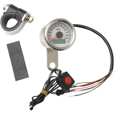 "Electronic Speedometer 1.8"" Polished White Face"