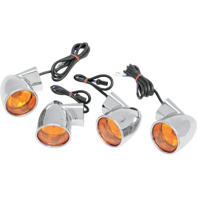 Turn Signal Kit Bullet Style Amber Chrome