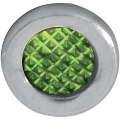 "Snap-in Indicator Light Green 0.3"" Stainless Steel Bezel"