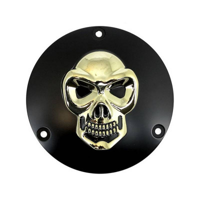Trappe d'Embrayage 3D Skull Noir/Or Shovelhead Dyna Softail Touring 70/98