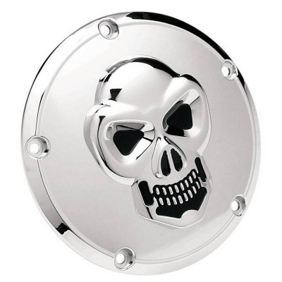 Trappe d'Embrayage 3D Skull Chromé Dyna Softail Touring